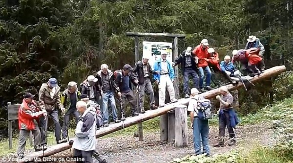Group of 14 pensioners try to balance on seesaw with