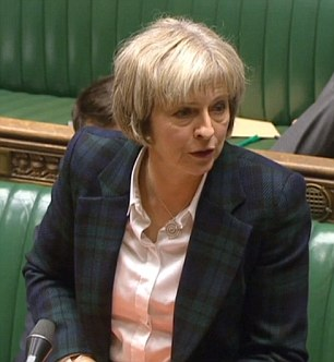 Home Secretary, pictured at the despatch box today, told MPs the findings of the inquiry were not surprising