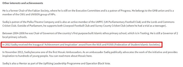 Proud: A screenshot of Sadiq Khan's website in which he publicises an award he received from FOSIS