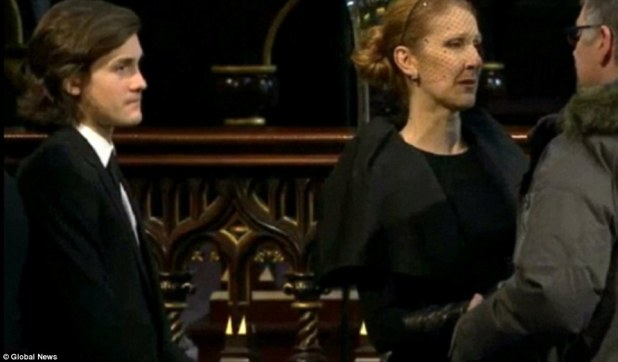 Her biggest supporter: By the performer's side was her eldest son René-Charles, aged 14, who wore a dark suit and tie