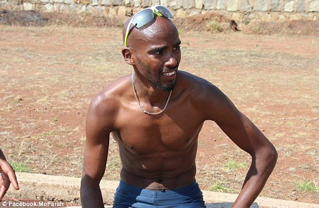 Mo Farah takes a breather in the sunshine during training in Ethiopia as he prepares for the track season