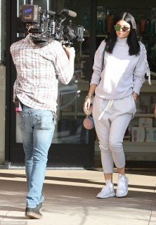 Sister act: The pair were joined at their on-camera lunch and shopping trip by younger sister Kylie Jenner