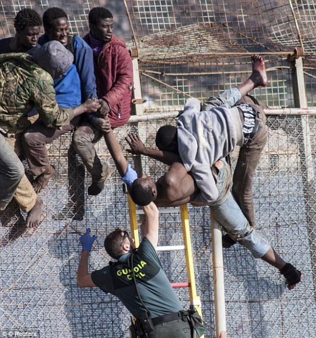 Kept out: A migrant is lowered down from a border fence by a Spanish Civil Guard at the border between Morocco and Spain's north African enclave of Melilla