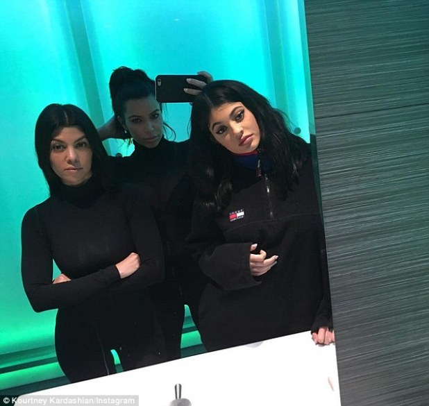 And another one: Later on Sunday Kourtney posted a picture of all three sisters, taken by Kim