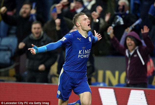 Jamie Vardy celebrates after scoring his 16th Premier League goal of the season against Stoke on Saturday