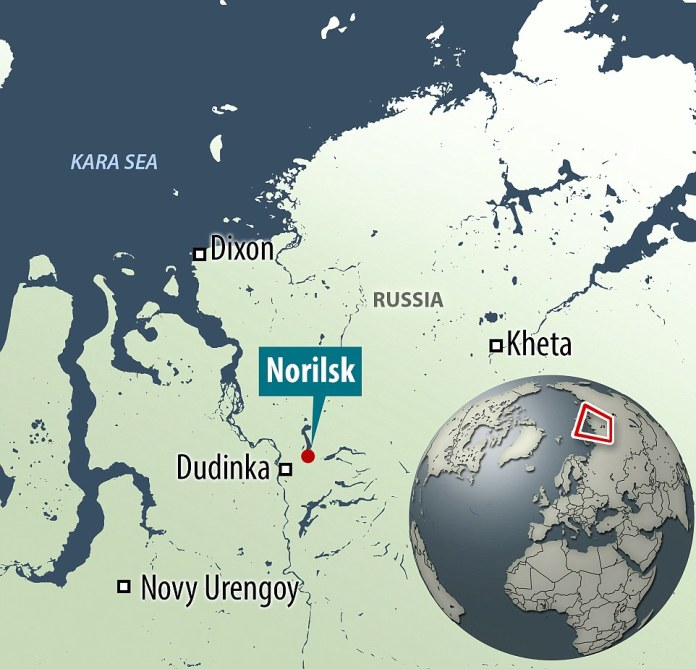 Norilsk, Siberia is situated 250 miles north of the Arctic circle, the average annual temperature is -10C