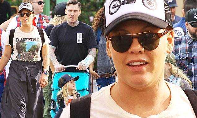 Pink goes to Disneyland with husband Carey Hart and