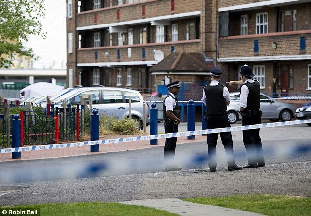 Police officers at an estate in Tulse Hill. Chuka Umunna told the Commons how the son of one of his constituent's had been stabbed on a Tulse Hill estate, prompting him to want to return his son to Somalia
