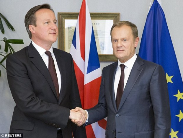 Prime Minister David Cameron (left) will meet European Council president Donald Tusk (right) at a No 10 dinner
