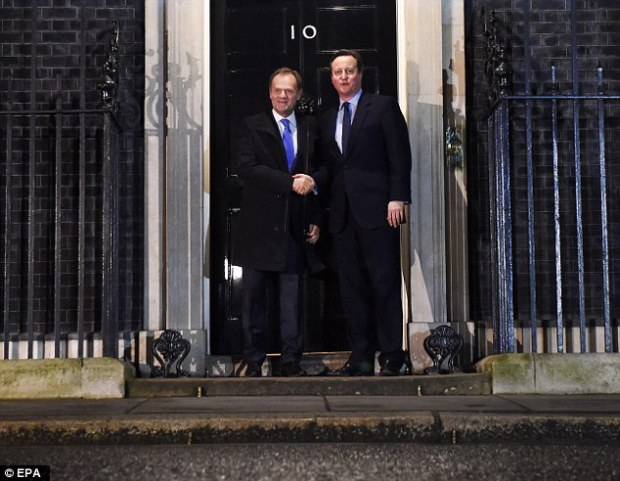 Mr Tusk and Mr Cameron met in Downing Street last night to discuss Britain's EU renegotiation package ahead of a crunch summit in February