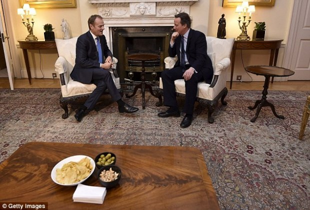 Measly: Crisps, olives and nuts, pictured, were put before European Council President Donald Tusk for his 'working dinner' with David Cameron in Downing Street last night. But there was a major breakthrough in talks