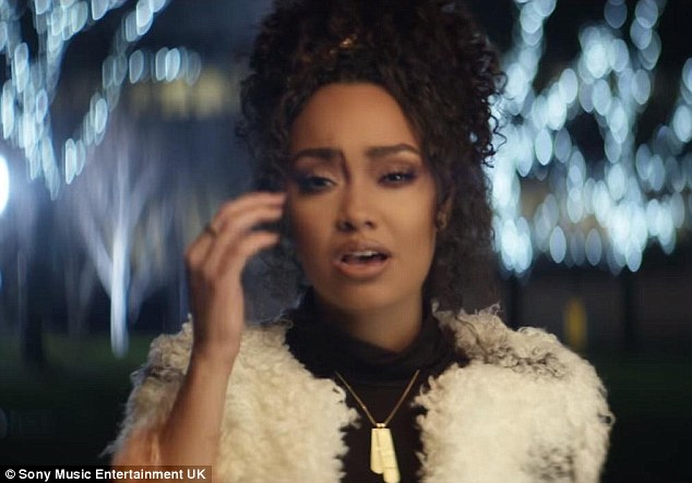 Tear-jerker: Leigh-Anne, 24, looks on the brink of tears as she belts out the emotional lyrics, which centre around forbidden love