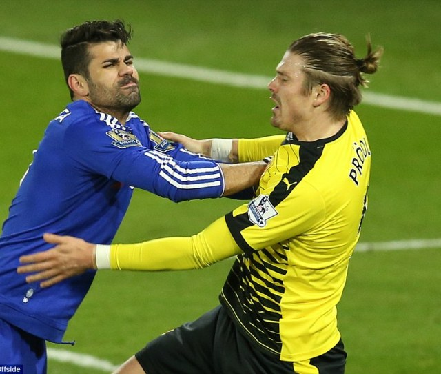 Costa Pushed Watford Defender Sebastian Prodl In An Off The Ball Incident In The