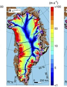The scientists created  map showing greenland   average ice speed over last years also shows sheet is thicker in centre than rh dailymail