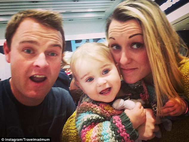 Speaking of her trip with Shaun and little Esmé, Karen said: 'I can't imagine having spent my maternity leave any other way'. Pictured, the family en route to Ireland for Christmas