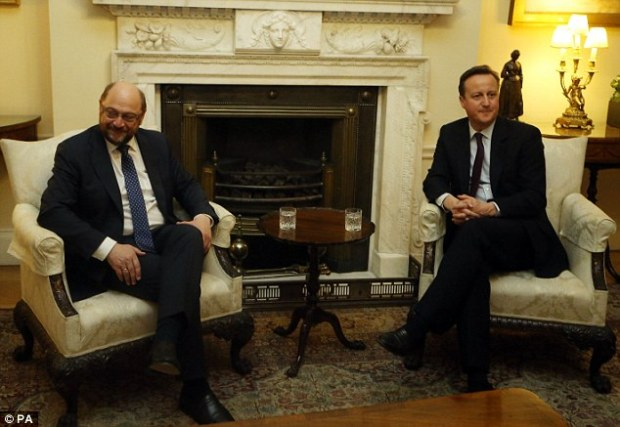European Parliament president Martin Schulz, pictured left with David Cameron in Downing Street last night, said that many MEPs privately wanted Britain to leave the European Union