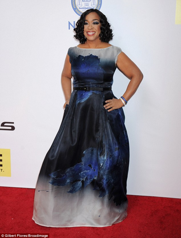Petal power! Shonda Rhimes worked a floor length dress emblazoned with a flower print