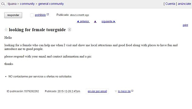 This picture shows the Craigslist ad Wright allegedly posted on December 28, 2015