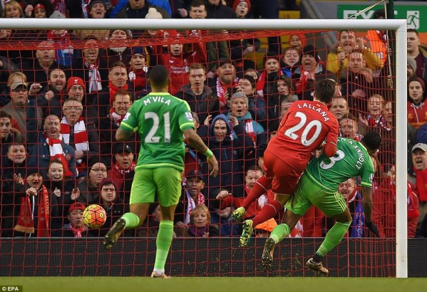 Adam Lallana (centre) scored from close range in the 70th minute for Liverpool after more good work from Firmino