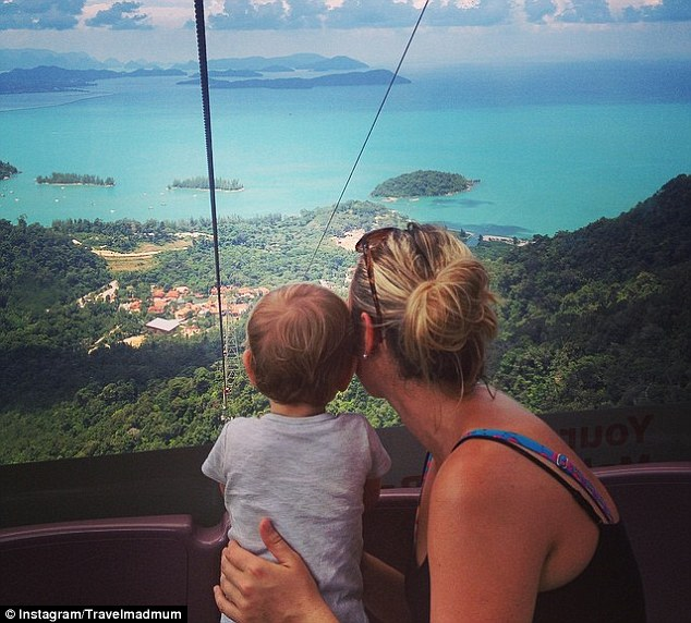 Esmé and Karen take a look at the view from the steepest cable car in the world on Langkawi island, Malaysia