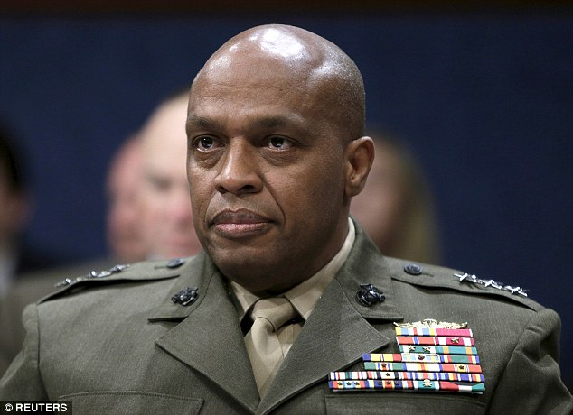 Marine Corps Lieutenant General Vincent Stewart (pictured) emphasised the dangers of the jihadi group's 'emerging branches' in Mali, Tunisia, Somalia, Bangladesh and Indonesia