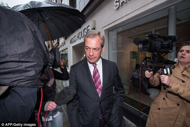 Farage had promised to resign if he lost the Thanet South seat, but the next day the party refused to accept his resignation (pictured on May 14)