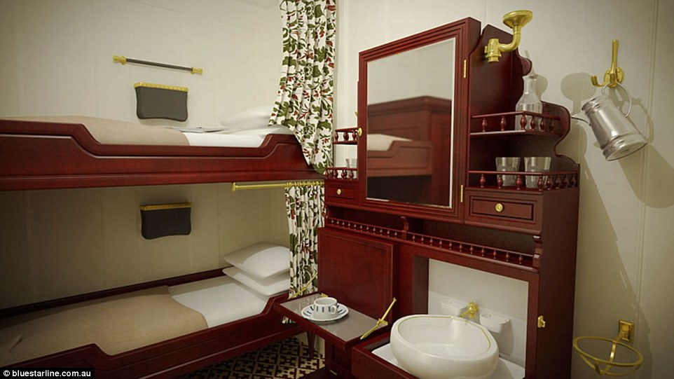 Second class cabins featured bunk beds and wardrobes with washing facilities, and could accommodate up to four passengers each