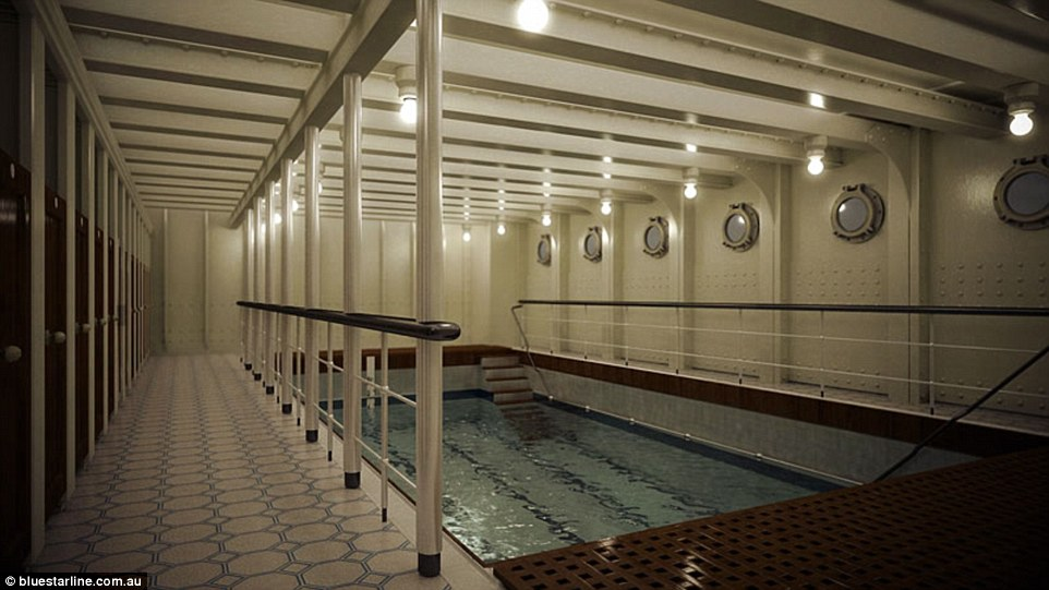 While many of today's hulking cruise ships boast multiple swimming pools and slides, Titanic II would offer just one indoor pool