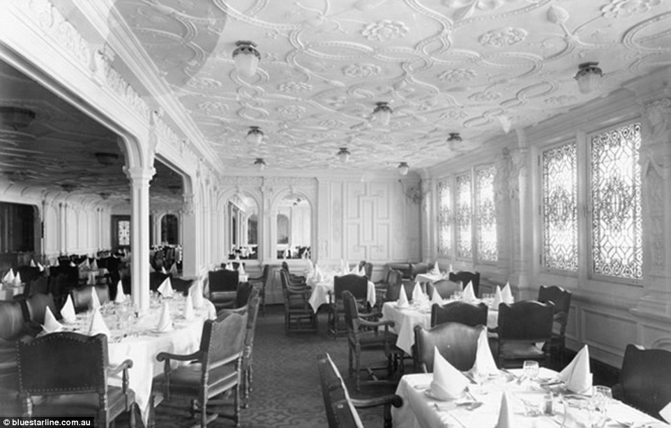 With white panelling throughout, the first class dining room was nearly 115ft long and spanned the entire width of the ship