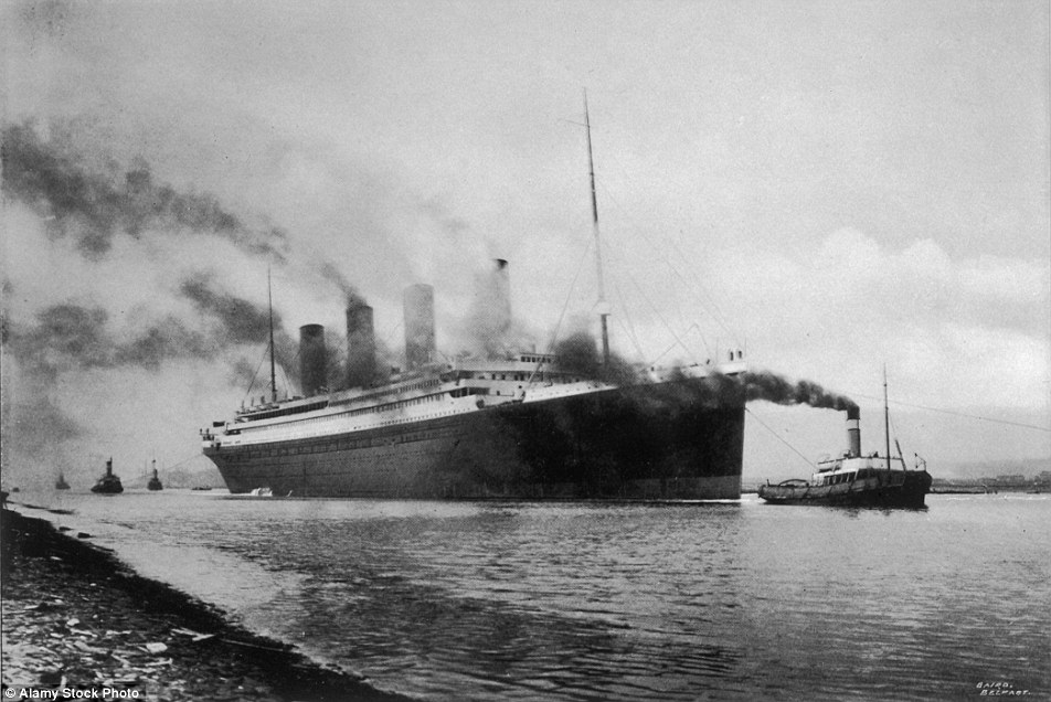 The RMS Titanic is pictured in Belfast before it made its way to Southampton ahead of its maiden voyage in April 1912