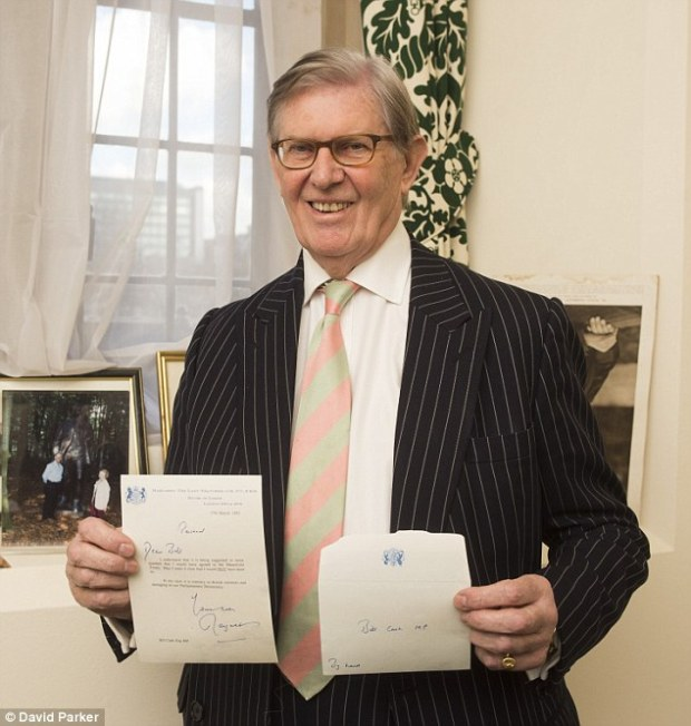 Lady Thatcher's letter to Sir Bill (pictured) was sent in the aftermath of the bitter parliamentary struggle over the Maastricht Treaty