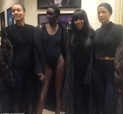 Fierce: Naomi posed with fellow models Liya Kebede, Alek Wek and Veronica Webb backstage at the show