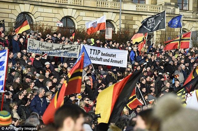 Rally: A Pegida demonstration in Dresden, where up to 5,000 people gather every week on Mondays