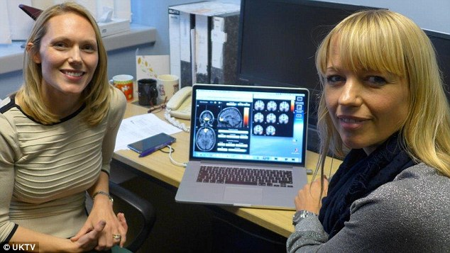 Sara had her brain scanned by neuroscientist Dr Joanne Powell, left, who found she 'lit up' when she saw pictures of her friends. Sara said people could get a 'hit' like this by seeing pictures of friends on Facebook