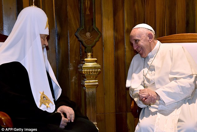 Union: Pope Francis and Patriarch Kirill together for the first ever papal meeting with the head of the Russian Orthodox Church, looking to heal a 1,000-year-old rift in Christianity