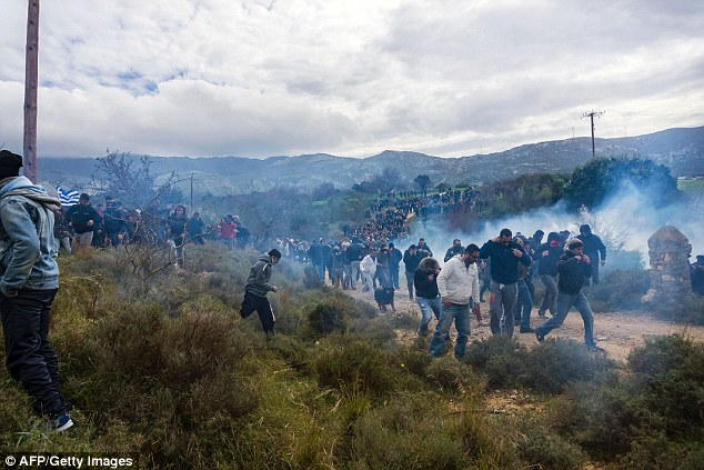 Greek police also fired stun grenades at the locals, who marched from the village of Pylio to the site where the hotspot is being built