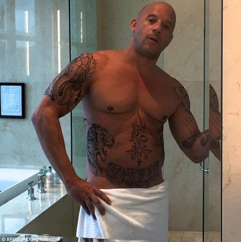 Image result for Vin Diesel shared a shirtless photo