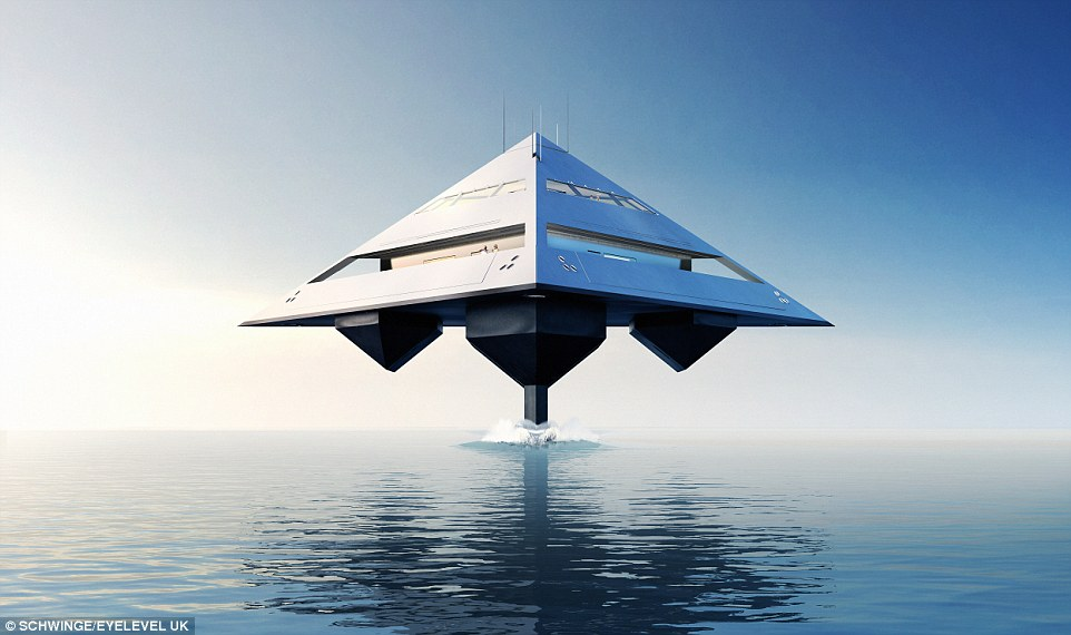 Tetrahedron Super Yacht Appears To Levitate Over The Sea