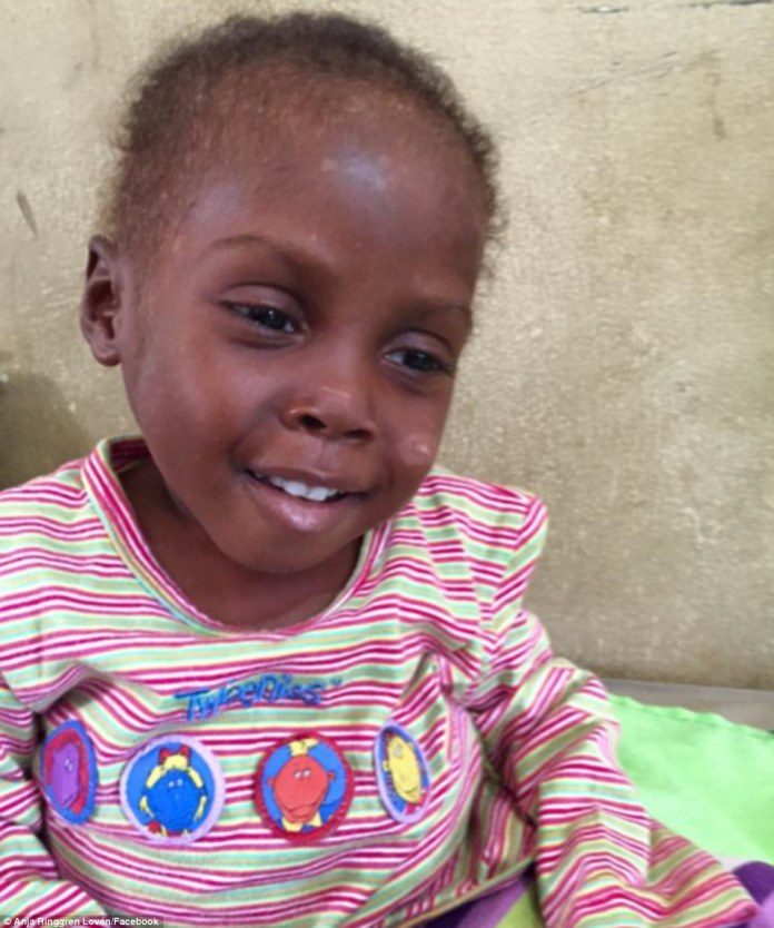 'Hope's condition is stable now. He's taking food for himself, and he responds to the medicine he gets. Today, he has had powers to sit up and smiling at us. He's a strong little boy,' Ms Loven said