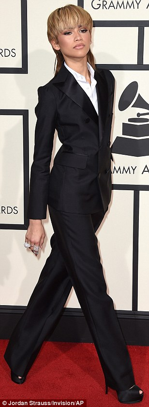Ditching the glamour: Zendaya Coleman picked an androgynous look in a black suit and white shirt, and also showed off a mullet