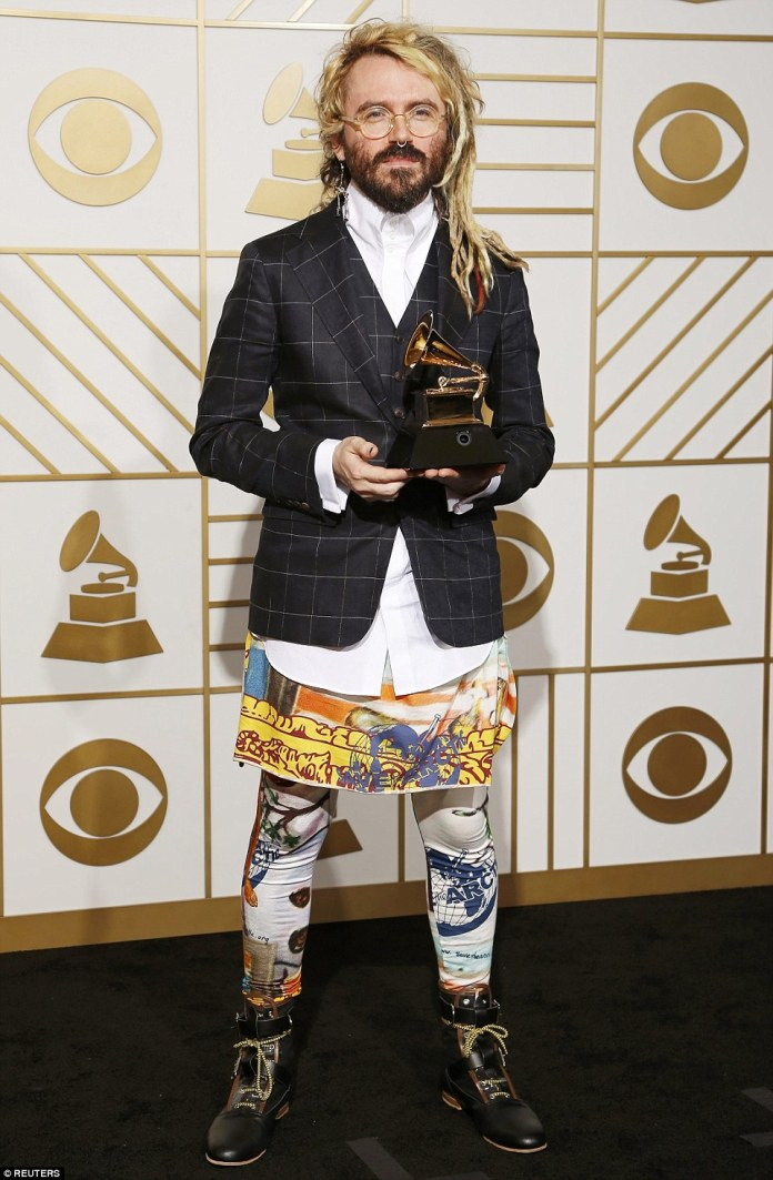 Top to bottom disaster: Producer Shawn Everett, the winner of the Best Engineered Album, Non-Classical for Sound & Color, sported one of the most perplexing looks of the night in order to promote Save the Arctic