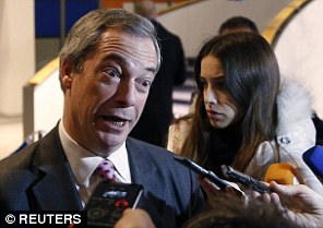 Ukip leader Nigel Farage, pictured in Brussels today, has already campaigned under the Grassroots Out banner