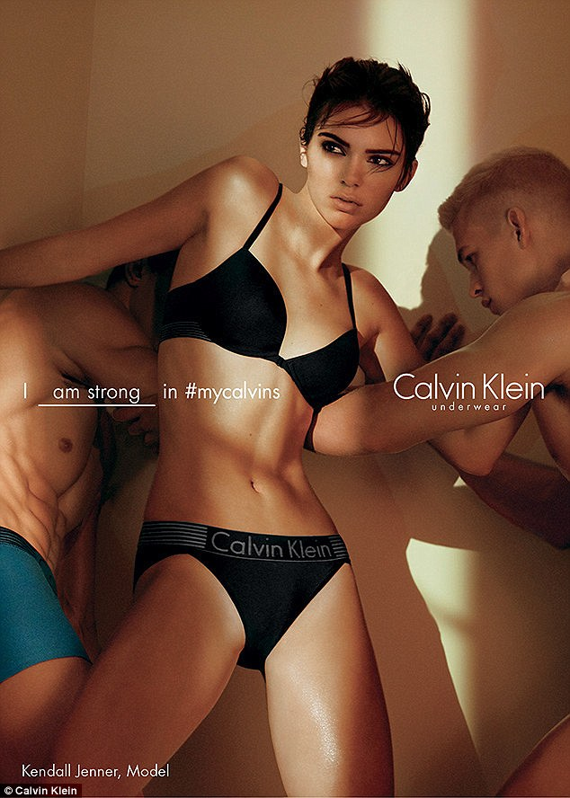 A sexy look: Kendall Jenner appeared in black lingerie in her new Calvin Klein ads that were released on Tuesday afternoon