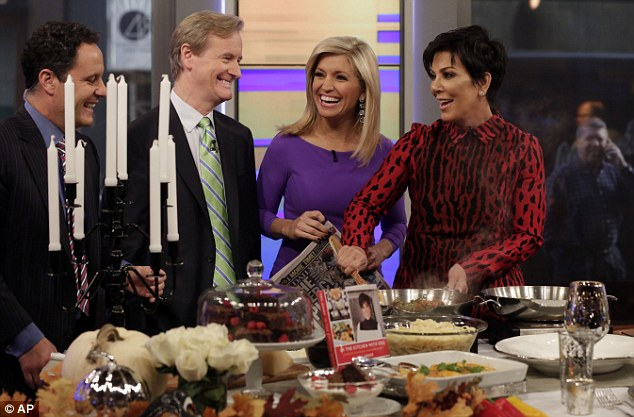 Seasoned pro: Earhardt began working for the network in 2007 and has been a frequent contributor and substitute host on Fox & Friends (above withBrian Kilmeade, Steve Doocy and Kris Jenner in October 2014)