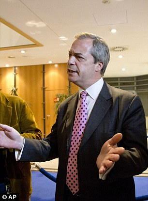 Nigel Farage, pictured yesterday at the European Parliament, insisted Mr Cameron's deal would not work