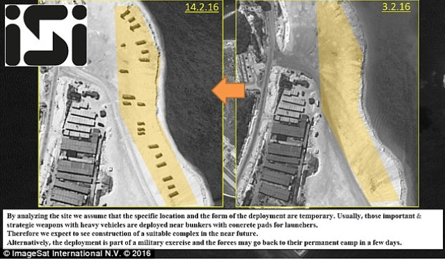 Proof? A U.S. defence official also confirmed the 'apparent deployment' of the missiles, believed to have arrived in the past week. These images suggest they arrived on a beach between February 3 and February 14