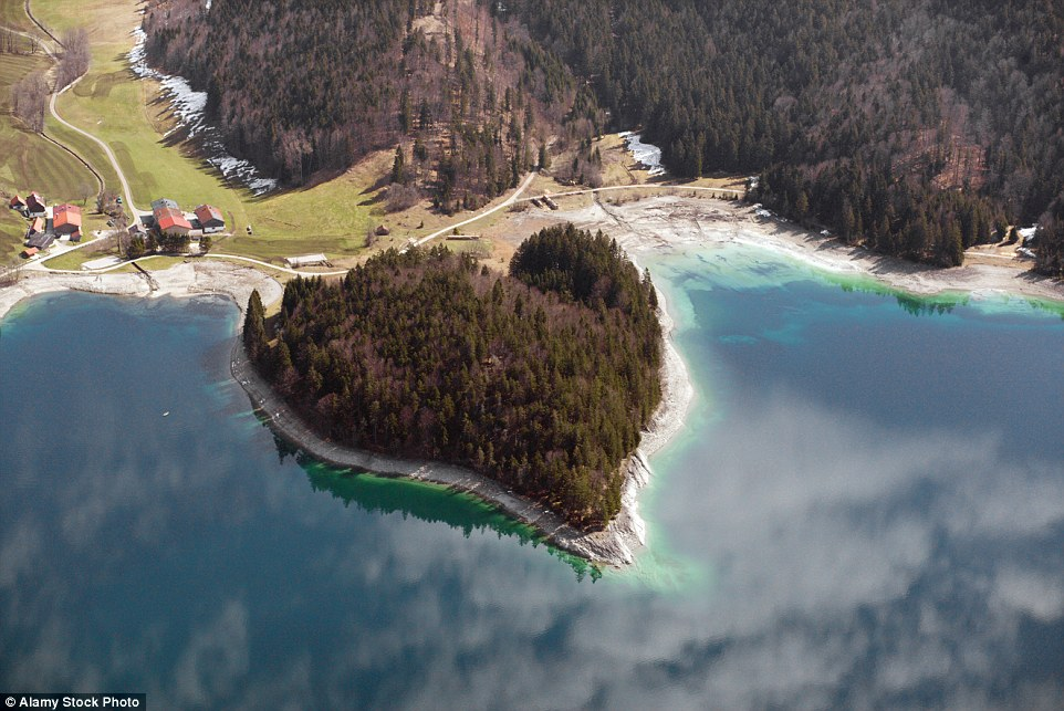 Located in the Bavarian Alps, this beautiful heart-shaped islands sits on Germany's Lake Walchensee