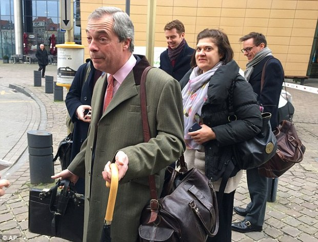 Nigel Farage, pictured, arrives in Brussels ahead of David Cameron's crunch summit with EU leaders. A poll yesterday found one in five people viewed him as 'important' in deciding which way they vote