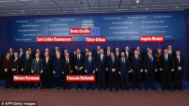 Deal makers and breakers: EU leaders gathered for the traditional family photo. David Cameron (front row, third from right) has allies in Germany's Angela Merkel and Denmark's Lars Lokke Rasmussen.But he still has to square concerns from France's Francois Hollande, and eastern European leaders including Poland's Beata Szydlo and Hungary's Viktor Orban. Austria's Werner Faymann arrived at the talks with a strong agenda to tackle the flow of migrants into his country