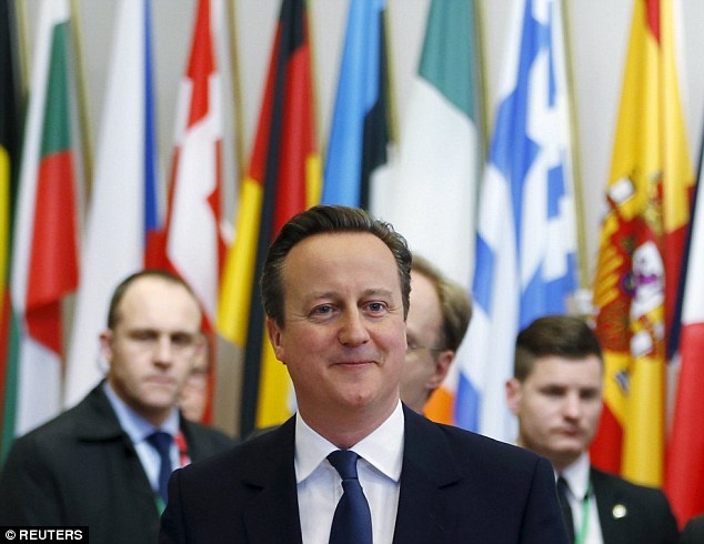 Britain's Prime Minister David Cameron leaves a European Union leaders summit in Brussels, Belgium